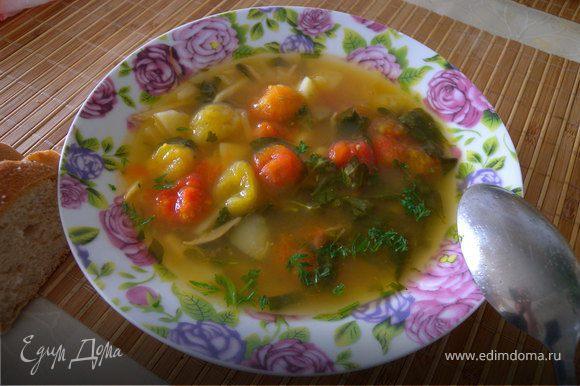 Петрушку порезать и посыпать суп в тарелке. Приятного аппетита.