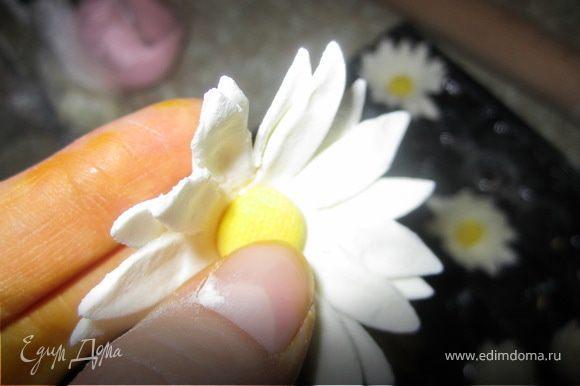 Немного смочить водой серединку цветка и вложить туда сердцевинку.
