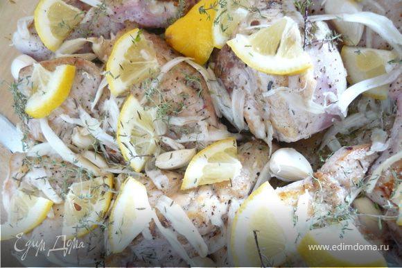 Курицу разрезать на куски, кожу удалить, обжарить на оливковом масле. Форму для запекания сбрызнуть оливковым маслом, положить туда веточки тимьяна, положить куски курицы. Посолить, поперчить, положить еще тимьян, на каждый кусок курицы положить половинку кружочка лимона. Фенхель нарезать на тоненькие полосочки - я делаю это с помощью овощечистки Зубчики чеснока не очищая положить между кусками курицы.