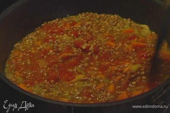 Добавить к чечевице помидоры вместе с соком, накрыть сковороду крышкой и варить похлебку до готовности чечевицы (если понадобится, доливать бульон).