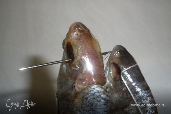 Теперь нанизываем наши рыбки на нитку, для этого возьмем иголку вставим нитку двойную и прошиваем через глаза, на расстоянии 7-10 см, рыбку лучше вешать за голову, чтобы жир не стекал через рот рыбки.