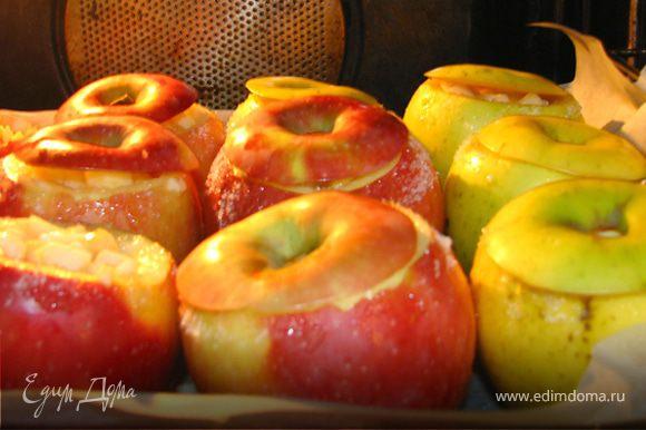 """Режим мелко нашу мякоть,которую извлекли из яблока. Также нарезаем изюм(перед этим """"замочить"""" его в коньяке) и курагу. Смешиваем все это все и добавляем немного ванили, корицу. Заполняем наши горшочки, перед этим на дно яблочек положим немного сливочного масла. Сверху все поливаем медом и немного коньяка.Накрываем """"яблочными крышечками"""" и отправляем в духовку."""