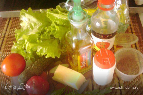 Листья салата порвать, добавить мелко нарезанные огурцы, помидор дольками, редис полукольцами. Режем мелко зелень. Добавляем сыр, натёртый на мелкую тёрку (оставьте немного для украшения). Перемешиваем все ингредиенты и заправляем нашей заправкой (перец по вкусу, у меня 0,5 ч.л.). Ломаем пластинки хлебцев на 2 части, выкладываем вертикально по контуру круглой тарелки. Потом заполняем тарелку салатом и посыпаем сверху оставшимся сыром. Вот и всё - сытный и вкусный салат готов!))