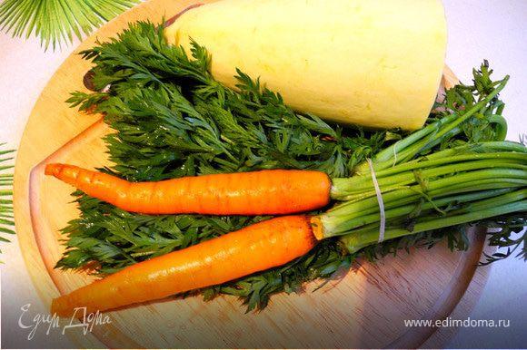 Пока курица варится приготовим наши овощи.