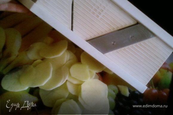 Картофель и морковь нарезать кружочками,толщиной не более 3мм. Шампиньоны нарезать пластами,такой же толщины.