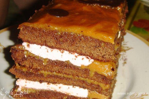 Когда торт готов, ставим его в холодильник для того, чтобы хорошо пропитался. Советую делать его за день до трапезничества))) Приятного аппетита.
