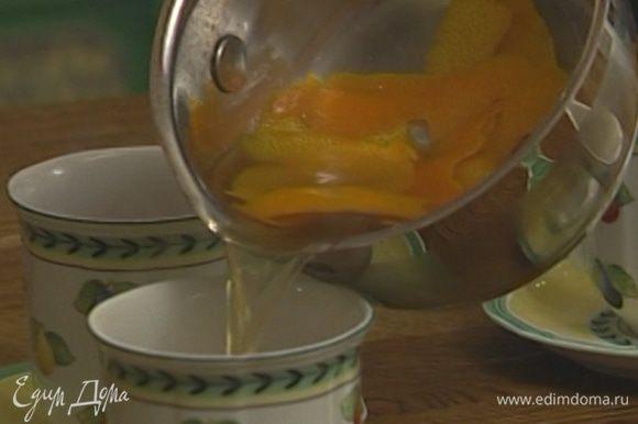 Наполнить чашки на две трети чаем, а на одну треть ромом.