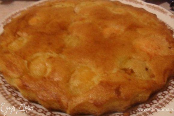 Готовый пирог слегка остудить, вынуть из формы и посыпать сахарной пудрой.