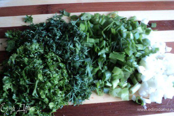 Порезать зеленый лук, петрушку, укроп.