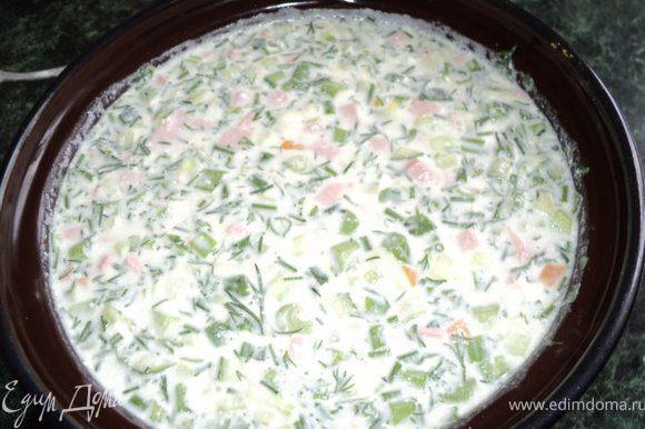 Добавить смесь в кастрюльку, перемешать, дать настояться в холодильнике 0.5-1.0часа, чтобы продукты в окрошке «подружились». Приятного аппетита!