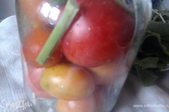 """Моем специи, помидоры. На дно банки кладем веточки сухого укропа (я не кладу зонтики, чтобы меньше плавало в маринаде """"мусора"""", когда зимой захочется его налить и выпить), зубчики чеснока, перец горошком, лук, петрушку - а в общем то, что вы привыкли. Укладываем помидоры и сверху тоже кладем немного специй. Накрываем простерилизованной крышкой и ставим в кастрюлю с кипящей водой (подготовленную как для стерилизации, т.е. на дне ткань или спец.подставка)"""