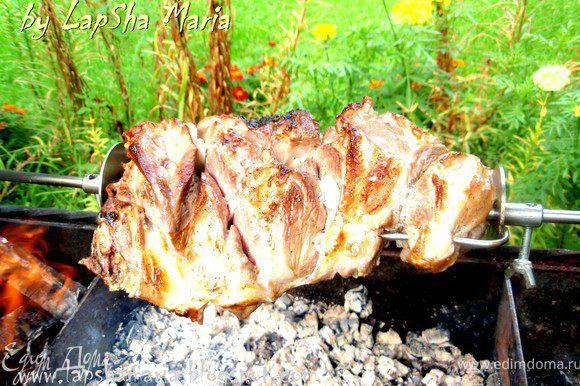 Мясо надо хорошенько помыть и отчистить от пленок и лишнего жира. Как следует натереть мясо солью и перцем. Сделать ножом надрезы и нашпиговать чесноком и курдючным жиром. Лук нашинковать полукольцами, положить к мясу и оставить мариноваться на ночь.