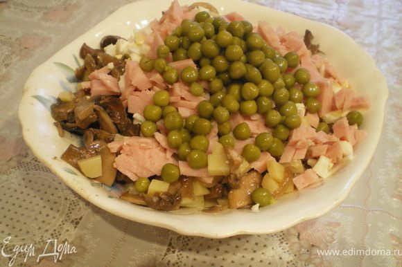 Шампиньоны нарезать на пластинки о обжарить на растительном масле, добавить тонко нарезанный лук . Снять с огня и дать остыть. Картофель и яйца нарезать кубиками,ветчину - тонкой соломкой. Соединить все ингредиенты,добавить зелёный горошек, посолить и заправить майонезом.