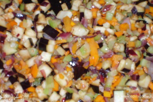 Добавить к нему морковь и сельдерей, обжарить еще минутки 3. Добавить туда же баклажаны и потушить еще минутки 3-5, на слабом огне