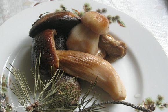В полтора литра воды я положил нарезанные грибы. Ножки нарезаю поперек, а шляпки на 2-6 секторов, в зависимости от размера. Грибов получилось примерно 250- 300 г.