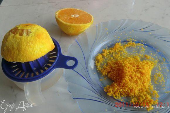 С апельсина снять цедру и выжать сок,