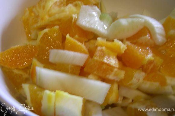 Все смешиваем в салатнице, добавляем лимонный и апельсиновый сок, апельсиновую цедру и масло.Солим, перчим по вкусу.