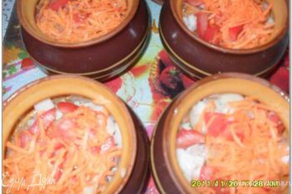 Подготовить горшочки. Положить продукты слоями: - мясо - капуста - лук - картофель, нарезанный кубиками - помидоры, нарезанные кубиками - морковь, натертая на крупной терке - 1 ст.л. сметаны
