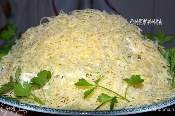 Сыр натираем на сырной терке и посыпаем хорошим слоем сверху. Вуаля! Салат готов к употреблению, добавим лишь небольшие «штрихи», украсив салат петрушкой по краю тарелки. Приятнейшего аппетита!)