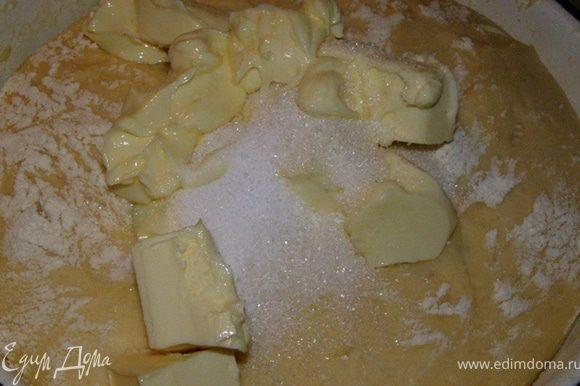Накроем миску полотенцем, поставим в теплое место, объем теста должен увеличиться вдвое. Моему тесту понадобилось на это около часа. Введем в тесто размягченное сливочное масло, сахар и соль.
