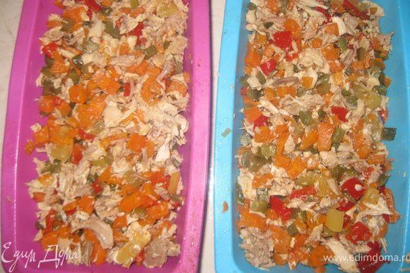 Выкладываем курицу с овощами в продолговатую форму для террина( у меня вышно на 2 формы), не утрамбовываем!!