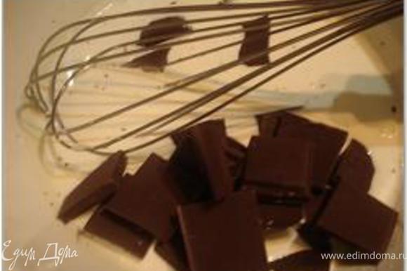 Довести сливки до кипения, но не кипятить. Добавить в горячие сливки поломанный на кусочки шоколад.