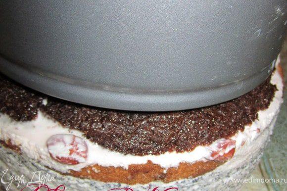 Достать из холодильника, освободить из формы. Приготовить кастрюльку или форму меньшего размера на 3-4 см.