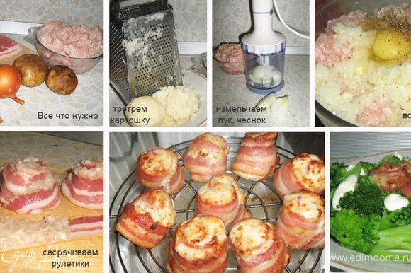 Я не думаю, что открыла что-то новое завернув фарш в рулетики. Мое усовершенствование коснулось лишь факта использования аэрогриля для уменьшения содержания жира и мамин рецепт добавления в фарш сырого картофеля вместо булки. Итак, берем фарш, добавляем тертый картофель. Измельчаем лук и чеснок в блендере (я не люблю плакать :). Все смешиваем, добавляем соль, перец, яйцо. Делаем легкий фарш. Берем ломтик бекона и распределяем по нему фарш, оставляя хвостик 5-7 см. Сворачиваем рулетик, а хвостик подгибаем. На нем будет стоять рулетик на решетке аэрогриля. Ставим температуру 250°С, высокую скорость вентилятора и время 25 минут. Все готово. Приятного аппетита.