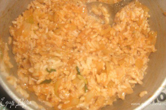Смешать с рисом, добавьте любые специи.