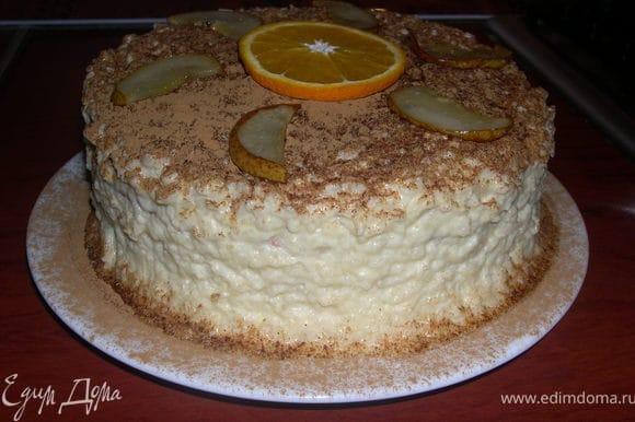 Украшаем,я припорошила тортик корицей.А дочка положила в середину кружок апельсина,сказав пусть так будет.Я не против,лишь бы ей нравилось.Торт готов.Даже не успела глазом моргнуть как слопали все.В разрезе не успела сфоткать к сожалению! Приятного чаепития!!!