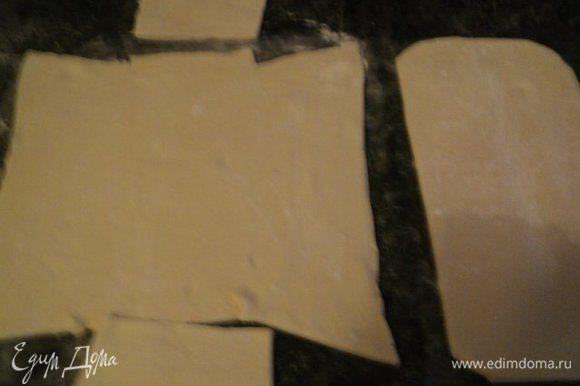 Пласт слоеного теста разморозить, слегка раскатать до 5мм и вырезать для покрытия дна, боков формы и отдельно верхнюю крышку.