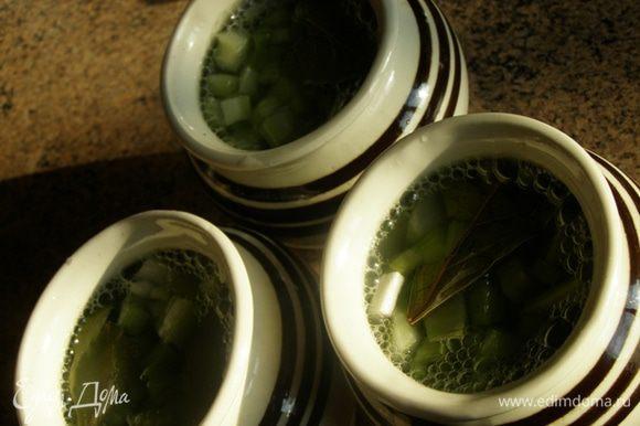 В горшочки выложим овощи и лавровый лист, зальем кипящим бульоном