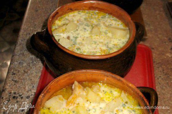 На дно горшочка крошим картошку. затем белые грибы,морковку,лук,чеснок,карт. ставим в духовку до готовности.