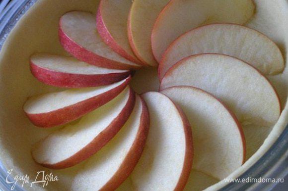 У яблок вырезать сердцевину, нарезать дольками, разложить поверх теста.