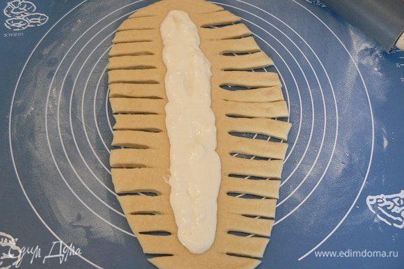 Подошедшее тесто делим на три части,раскатываем,разрезаем.. кладем творожную начинку..