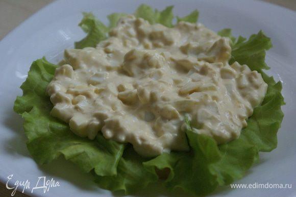 Сверху положить яичный салат со вторым соусом.