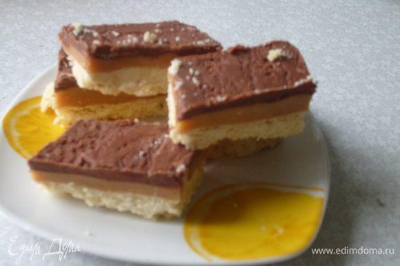 Когда шоколад остынет, разрезать на порции. Хранить в прохладном месте (желательно не в холодильнике).