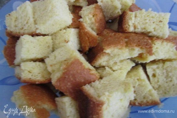 Приготовить бисквит по рецепту http://www.edimdoma.ru/retsepty/38569-biskvit-na-kipyatke-belyy . Охладить порезать на кубики.