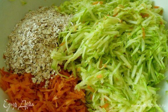 Натереть на крупной терке морковь и кабачки(слегка отжать из кабачков сок)и добавить овсяные хлопья.Если будете использовать рис,его предварительно отварить до полуготовности.Перемешиваем.