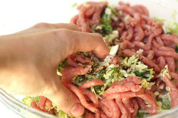 Пропускаем через мясорубку, натираем на тёрке ингредиенты: капусту, зеленый лук, чеснок, имбирь. Перемешиваем измельчённые ингредиенты c свиным фаршем в большой миске (руками).
