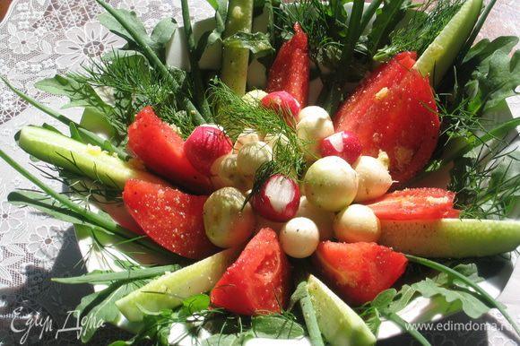 Бобовый суп готов. Не забудьте про мои рекомендации на счет живой природы, чистого воздуха и свежих овощей с зеленью. Один из вариантов: руккола, зеленый лук, укроп, редис белый и красный, огурцы, помидоры. Приятного аппетита