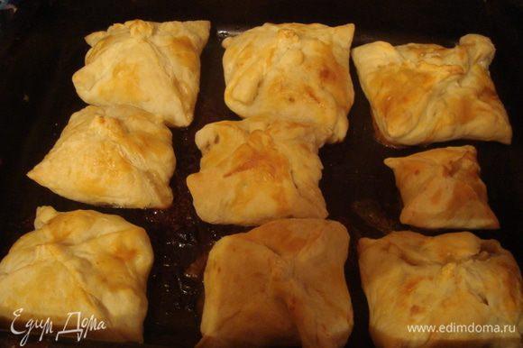 на смазанные противень выкладываем пирожки, поливаем опять же яйцом и оставляем на 20-30мин в духовке (180гр)
