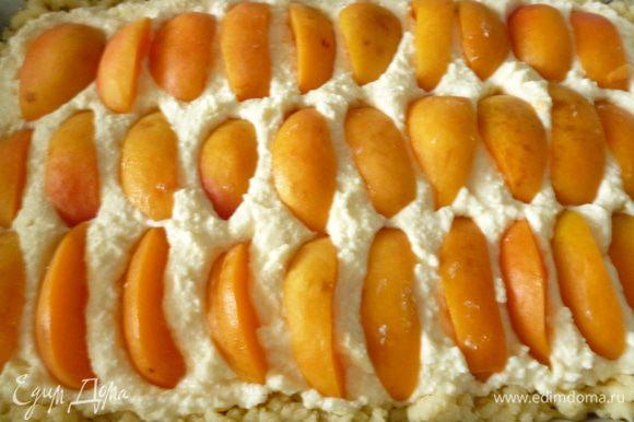Выкладываем нарезанные дольками абрикосы.