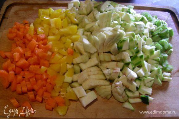 Все овощи нарезаем тонкой соломкой или небольшим кубиком.