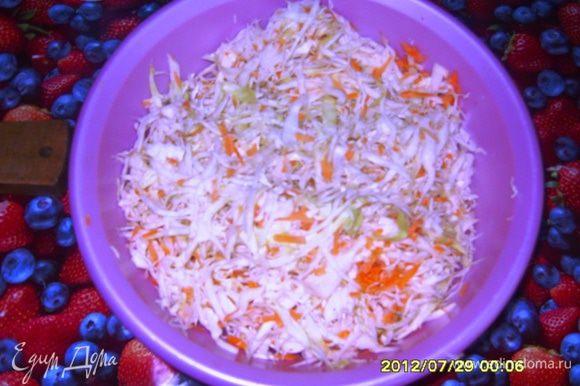 крошим капусту, натираем морковь, режем лук, посолить, поперчить и хорошо все перемешать