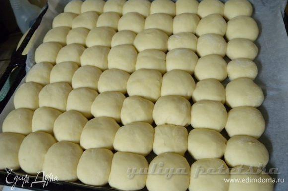 Дать постоять около 30 минут в теплом месте. Можно укладывать пампушки плотно, тогда они будут выше потом.