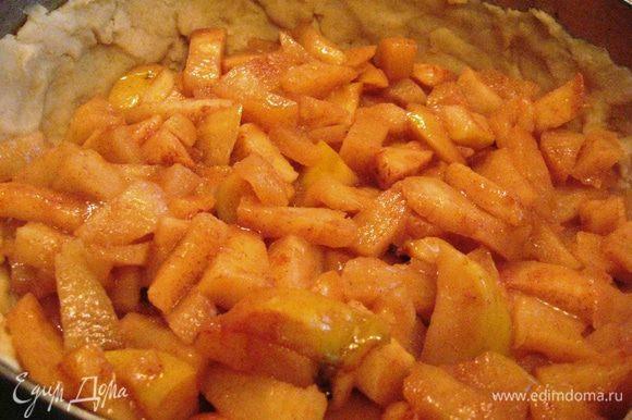 Яблоки выкладываем на тесто.