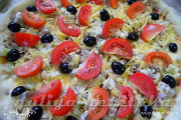 Далее помидорки + оливки