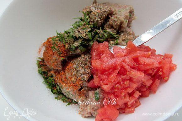 Мясо измолоть в блендере, мясорубке или мелко посечь ножом вручную. Добавить лук, зелень, помидоры, специи, соль. Влить немного минеральной воды и хорошо размешать.