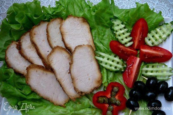 Готовое мясо хорошо охладить и нарезать тонкими ломтиками. Приятного аппетита!!!